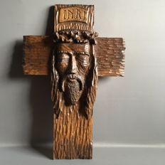 Large crucifix - Flemish wood carving - 61 cm - 1st half of the 20th century