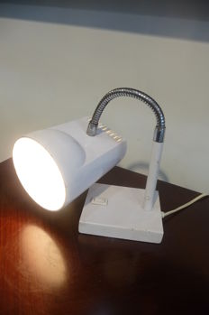 Adjustable white iron desk lamp, circa 1960