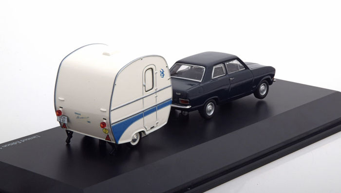 Schuco - Scale 1/43 - Opel Kadett B with caravan Knaus Schwalbennest 1961 - Black / White - Limited Edition 1.500 pieces & VW up! 2012 - light blue