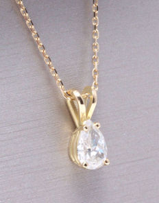 Pendant with a pear cut diamond of 0.30 ct *** No reserve price ***
