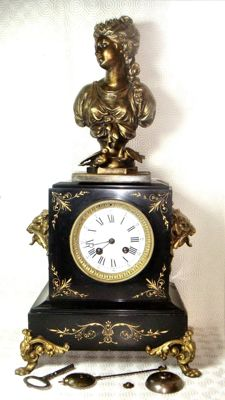 massive marble and bronze Napoleonic imperial clock - with sculpture - 1852/1870 - signed movement and pendulum