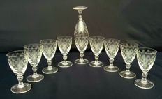 Set of 10 chiselled and cut crystal glasses - France - c. 1920