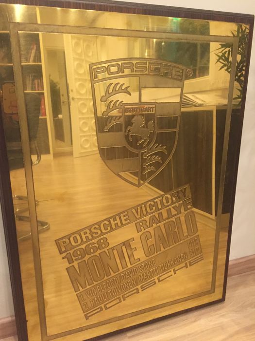 Brass plaque commemorating the victory of Porsche Rally Monte Carlo 1968