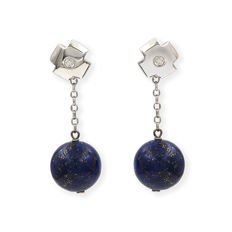 18 kt white gold - Earrings - Diamonds 0.15 ct - Lapis lazuli - Earring height: 35.25 mm
