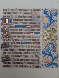 Manuscript; Leaf from a book of hours on vellum with daisies and acanthus leaves - Psalm 100:1-5 and Psalm 63:2-6 - (France) - c. 1475