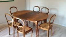 Very nice extensible table style Louis Philippe, for 18 to 20 persons (open) with 6 feet, France, second half of the 20th century
