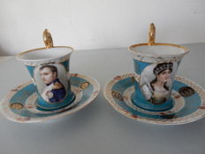"Two very pretty old cups with saucers of ""Napoléon Bonaparte"" and ""Joséphine de Beauharnais"" in fine porcelain with Crown and ""N"" below - early twentieth century - France"