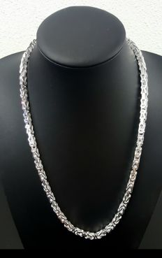 Silver Byzantine link necklace, length: 60 cm, width: 5 mm, weight: 119 g, 925K