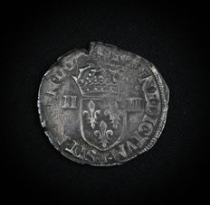 France - Charles X - Quarter of an ecu - 1590 T (Nantes) Silver