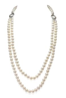 Multifunctional Stylish Necklace Featuring Freshwater Pearls and Solid Silver Elements, L 90cm  - Authenticity Certificate