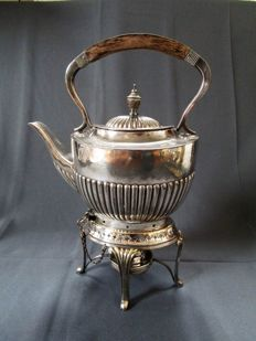 Teapot - silver-plated - with Rechaud - England - tilting - 1st half of the 20th century - marked