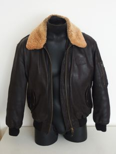 Camel - Leather aviator jacket