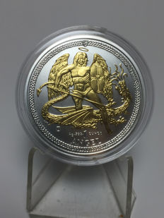 Great Britain - 1 oz Angel Isle of Man 2015 - Archangel / Dragon Slayer - gilded - 999 fine silver + 999 gold finish