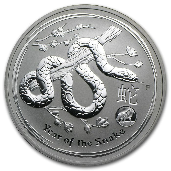 Australia - AUD 1 - 1 oz 999 silver coin - Year of the snake 2013 with Privy mark lion