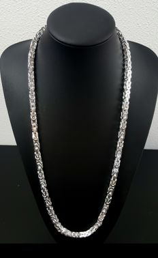 Silver king's braid link necklace, length: 75 cm, width: 7 mm, weight: 231 g, 925