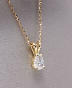Pendant with a pear cut diamond of 0.25 ct *** No reserve price ***