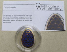Cook Islands - 5 Dollars 2012 'Imperial Eggs in Cloisonné Pine Cone Faberge' - silver