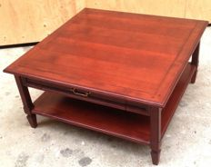 Cherry wood square coffee table with two drawers, late twentieth century