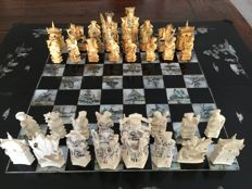 Chinese chess game in foldable box inlaid with mother of Pearl