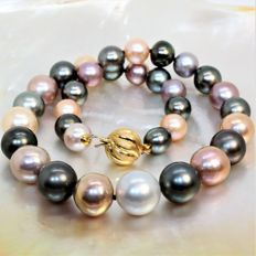 Hudge necklace Ø 11x15mm - Southsea-Tahiti & Freshwater cultured pearls - 18K YG clasp