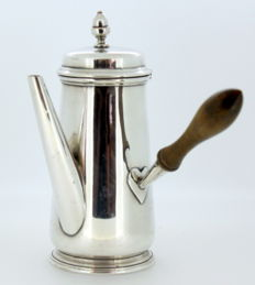 Antique Silver Plate Coffee Pot With Wooden Handle, Circa.1930's