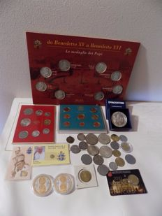 Vatican -- 2013 coin set + various coins and medals