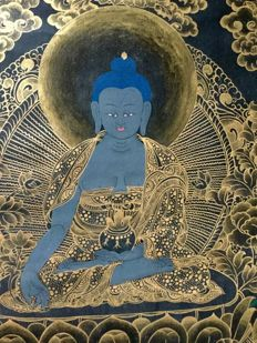 Thangka depicting the Buddha of medicine - Nepal - late 20th centruy