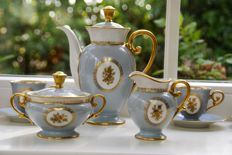 Tirschenreuth porcelain tea/coffee set lavender blue with gold.