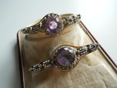 Antique Silver Set with Genuine Amethyst and Pearls, Bracelet and Brooch, the end of 19th century
