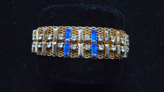 Signed HATTIE CARNEGIE - Sapphire Blue Baguette Rhinestone and Thick Gold Mesh Bracelet - Mid 60s