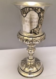 Antique silver Judaica Kiddush cup - Germany - 1880