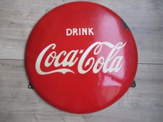 Enamel advertising sign for Coca Cola - 1950s