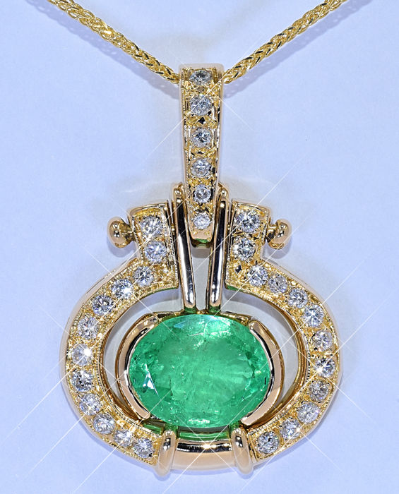 6 81 Ct Emerald With Diamonds Designer Necklace No Reserve Price