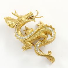 18kt Dragon brooch with 0.25 ct natural Diamonds & 0.01 ct natural Rubies
