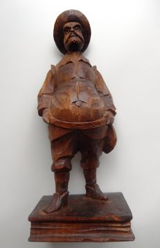 Wood carving of the Sower, standing on a Bible - Germany - 20th century