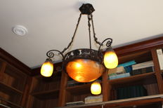 Daum Frères - wrought iron pendant lamp with glass shades