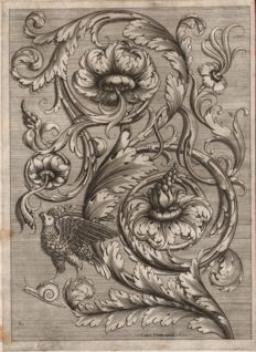 Cesare Domenichi (act. 1589-1614) and Lodovico Scalzi (act. 1580-1600) -  Acanthus leaf with a bird and  a snail - 1611