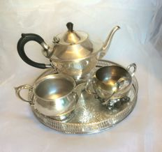 5-piece silver plated  assorted tea set, teapot, milk jug, sugar bowl,tray and sugar tong, 20th century