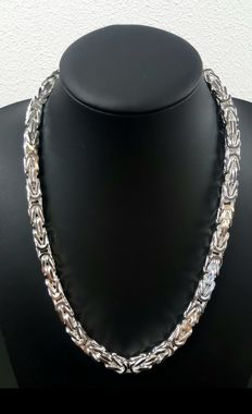 Silver king's braid link necklace, length 55 cm, width 8 mm, weight 204 g, 925