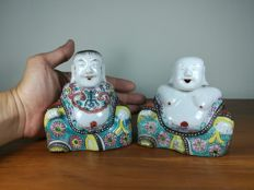 A Pair Chinese Familie Rose Porcelain Boy and Girl Figure - approx. 18-19 th Century