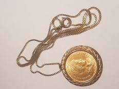 Netherlands - 10 gulden 1917 Wilhelmina in 14 kt pendant with necklace - gold