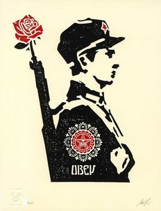 Shepard Fairey (OBEY) - Rose Soldier Letterpress