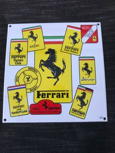 Beautiful rare Ferrari enamel sign of all European Owner Club's