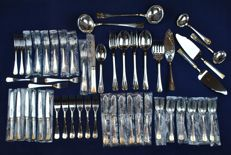 "Christofle - Vintage ""Malmaison"" Pattern Atlantide Gold - 50 Pieces of Flatware/Cutlery - Very Good Condition + Many Still in Packaging"