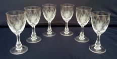 Lot of 6 chiselled and cut crystal glasses - France - C. 1920