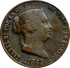 Spain - Isabel II (1833-1848) - 25 centimos of a real (9.50 g - 26 mm) - 1864 - Segovia