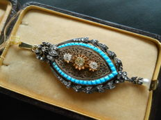Antique XIX century 1,55 ct Old cut Diamonds, Turquoise and Pearl Gold and Silver Huge Pendant, Museal Item!