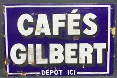 Old enamel sign Cafés GILBERT - France ca. 1930