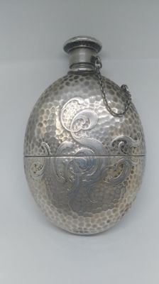 Antique hip flask or decanter in silver - handcrafted