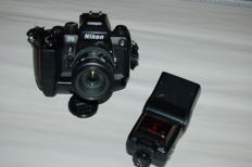 Nikon F4 with AF Nikkor 1:3.5-4.5 f = 35-105 mm, plus Speedlight SB-24